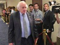 Sander Levin, D-MI, arrives for a meeting of House Democrats with US President Barack Obama at the Capitol Hill on June 12, 2015 in Washington, DC. President Barack Obama went to Congress Friday for a frantic round of lobbying ahead of a crucial vote on his sweeping trans-Pacific trade agenda. …
