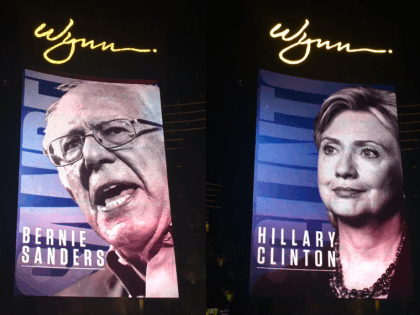 Bernie versus Hillary at Las Vegas Debate (Michelle Moons / Breitbart News)