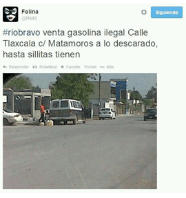 @Miut3: #riobravo sale of illegal fuel Tlaxcala and Matamoros streets. without shame, they even brought chairs