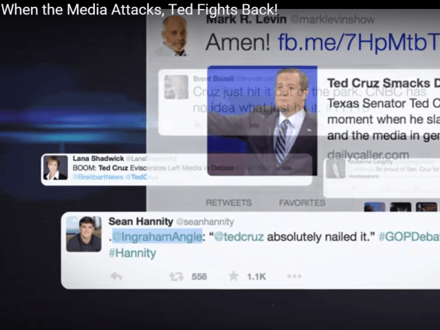 Screenshot of tweets from nationally known conservatives. (Photo: Ted Cruz Campaign Ad Video Screenshot)