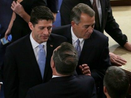 Newly-elected Speaker of the House Paul Ryan (R-WI) stands with Outgoing Speaker of the House John Boehner (R-OH) (R) at the U.S. Capitol October 29, 2015 in Washington, DC. The House is expected to elect Rep. Paul Ryan (R-WI) as the 62nd Speaker of the House, replacing Rep. John Boehner …