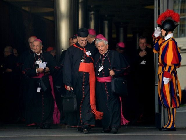 Bishops and cardinals leave at the end of the morning session of the Synod on the Family, at the Vatican on October 5, 2015. Pope Francis said on October 5 that the Church was 'not a museum' but a place for progress, as members of a key synod started three …