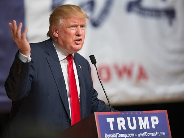 Republican presidential candidate Donald Trump speaks to guests at a campaign rally at Burlington Memorial Auditorium on October 21, 2015 in Burlington, Iowa. Trump leads most polls in the race for the Republican presidential nomination. (Photo by