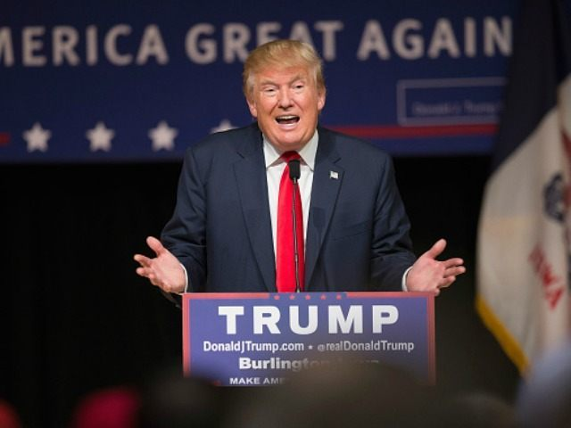 Republican presidential candidate Donald Trump speaks to guests at a campaign rally at Burlington Memorial Auditorium on October 21, 2015 in Burlington, Iowa. Trump leads most polls in the race for the Republican presidential nomination. (Photo by )