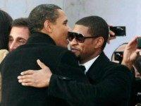 President-elect Barack Obama (L) gets a hug from Usher during the 'We Are One: The Obama Inaugural Celebration at The Lincoln Memorial' January 18, 2009 in Washington, DC. The event includes a diverse array of talent featuring both musical performances and historical readings and an appearance by U.S. President-elect Barack …