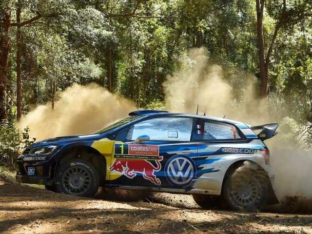 COFFS HARBOUR, AUSTRALIA - SEPTEMBER 13: Sebastien Ogier of France and Julien Ingrassia of France compete in their Volkswagen Motorsport Volkswagen Polo R WRC during Day Three of the WRC Australia on September 13, 2015 in Coffs Harbour, Australia.
