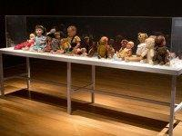 Dolls and Teddy Bears belonging to Jewish children victims of the Holocaust are displayed at 'Children in the Holocaust: Stars Without a Heaven', a new exhibition of the Yad Vashem Holocaust memorial museum, in Jerusalem, on April 12, 2015. The exhibition highlights the lives of the 1.5 million children who …