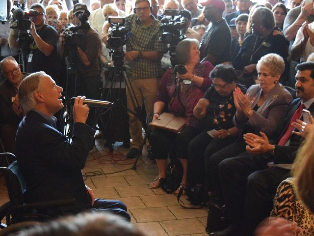 Texas Governor Greg Abbott speaks to an overflowing crowd of grass roots activists in Houston. (Breitbart Texas Photo/Bob Price)