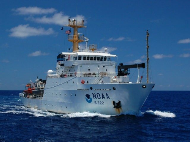NOAA ship Thomas Jefferson at sea.