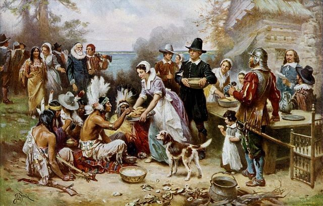 The First Thanksgiving as depicted by Jean Leon Gerome Ferris via Library of Congress.