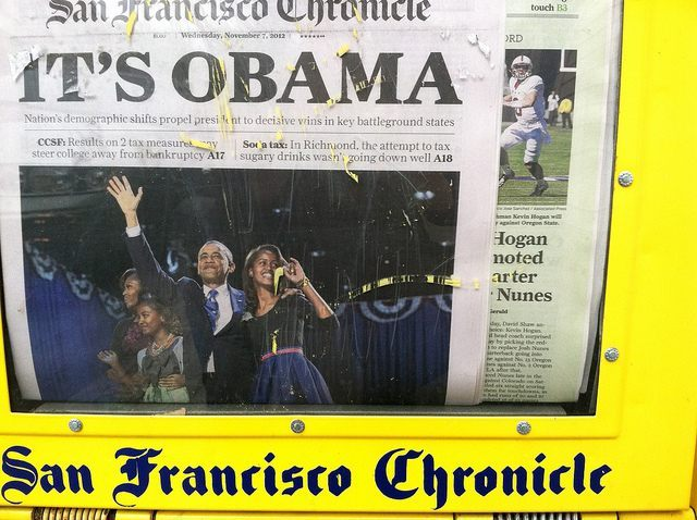 Obama on San Francisco Chronicle cover (torbakhopper / Flickr / CC)
