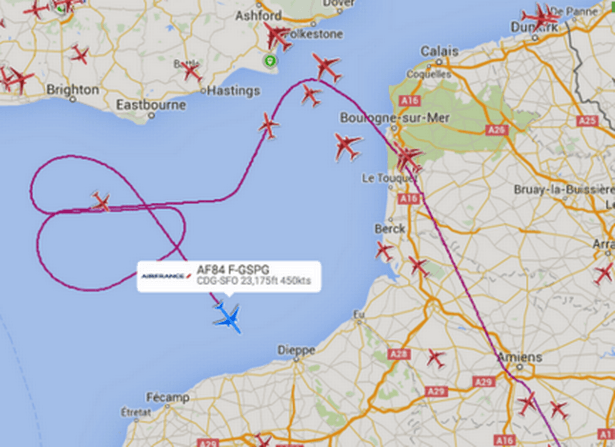 U-turn: The US-bound Air France plane performed several loops over the English Channel.