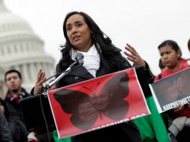 Erika Andiola, who recently resigned her position in the congressional office of Rep. Rep. Kyrsten Sinema (D-AZ), speaks at a press conference held by the Dream Action Coalition on immigration reform December 4, 2013 in Washington, DC. Andiola's mother, Maria Andiola, faces deportation proceedings being conducted by Immigration and Customs …