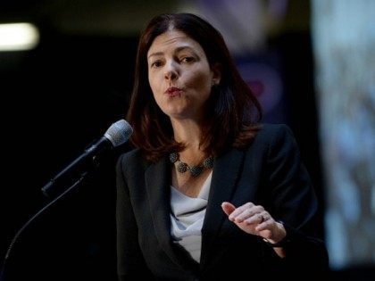 Senator Kelly Ayotte (R-NH) speaks at the No Labels Problem Solver convention October 12, 2015 in Manchester, New Hampshire. Eight presidential candidates addressed the bipartisan event which included many undecided New Hampshire voters. (Photo by
