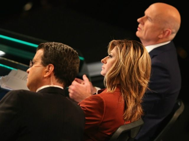 Moderator Maria Bartiromo looks on during the Republican Presidential Debate sponsored by Fox Business and the Wall Street Journal at the Milwaukee Theatre on November 10, 2015 in Milwaukee, Wisconsin. The fourth Republican debate is held in two parts, one main debate for the top eight candidates, and another for …