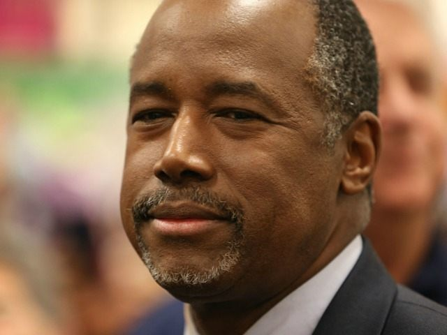 Republican presidential candidate Ben Carson speaks to the media during a stop to sign his book at a Barnes and Noble store on November 5, 2015 in Fort Lauderdale Florida. Mr. Carson is leading the field in some of the recent polling for the Republican nomination contest.