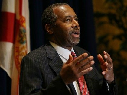 Republican presidential candidate Ben Carson speaks to the media before attending a gala for the Black Republican Caucus of South Florida at PGA National Resort on November 6, 2015 in Palm Beach, Florida. Carson has come under media scrutiny for possibly exaggerating his background and other statements he has made …