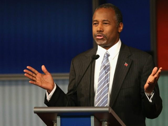 Presidential candidate Ben Carson speaks during Republican Presidential Debate sponsored by Fox Business and the Wall Street Journal at the Milwaukee Theatre November 10, 2015 in Milwaukee, Wisconsin. The fourth Republican debate is held in two parts, one main debate for the top eight candidates, and another for four other …