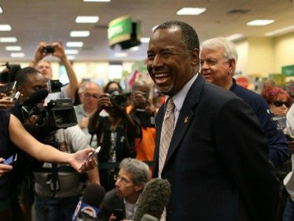 Republican presidential candidate Ben Carson speaks to the media during a stop to sign his book at a Barnes and Noble store on November 5, 2015 in Fort Lauderdale, Florida. Mr. Carson is leading the field in some of the recent polling for the Republican nomination contest. (Photo by