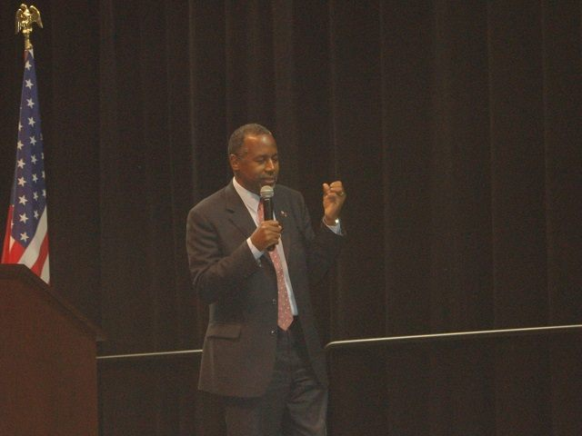 Ben Carson addresses rally attendees at the University of South Alabama