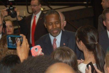 Ben Carson greets rally attendees following his speech