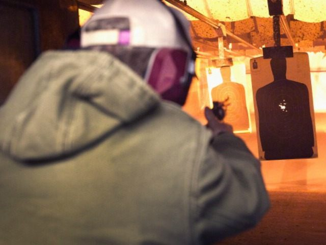A marksman sights in on a target during a class he was taking to qualify for an Illinois concealed carry permit on February 14, 2014 in Posen, Illinois. Illinois recently became the final state to allow residents to carry a concealed weapon after they complete a 16-hour course. (Photo by