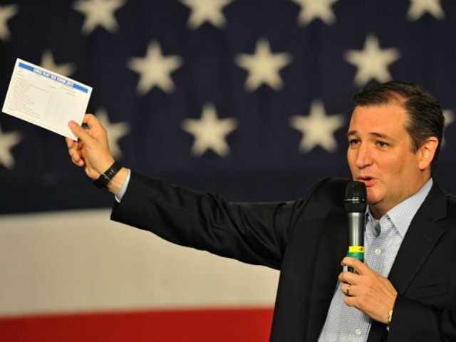 Republican presidential candidate Sen. Ted Cruz (R-TX), speaks at the Growth and Opportunity Party, at the Iowa State Fair in Des Moines, Iowa, Saturday October 31, 2015. With just 93 days before the Iowa caucuses Republican hopefuls are trying to shore up support amongst the party. (Photo by