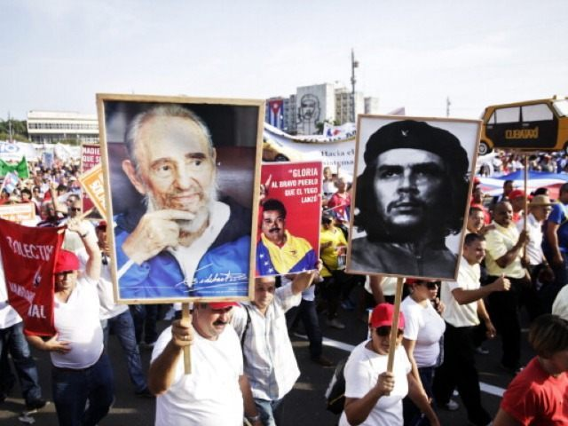 Cuban May Day Celebration, Signs with Fidel Castro and Che