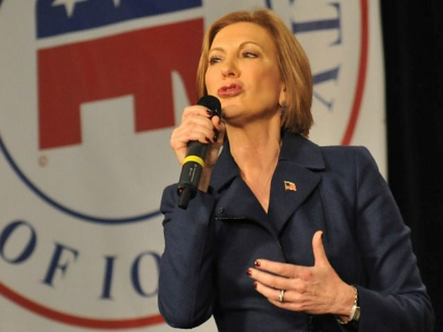 Republican presidential candidate Carly Fiorina speaks at the Growth and Opportunity Party, at the Iowa State Fair October 31, 2015 in Des Moines, Iowa. With just 93 days before the Iowa caucuses Republican hopefuls are trying to shore up support amongst the party. (Photo by )