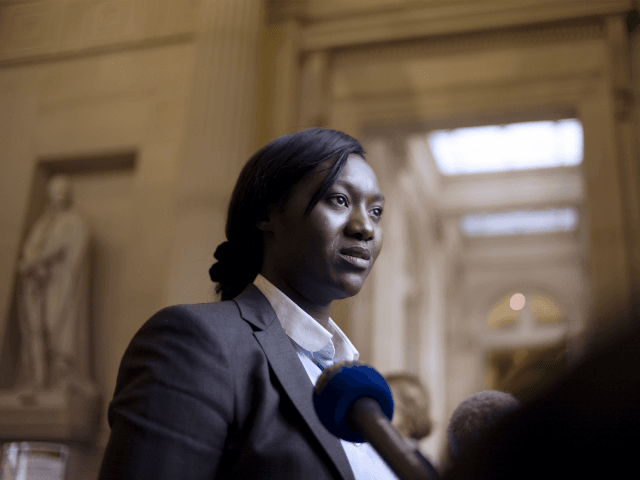French newly-elected socialist MP Seybah Dagoma speaks to journalists at the French national assembly on June 18, 2012 in Paris.