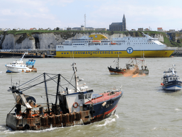French fishermen, angry at high fuel costs, block on May 19, 2008, access to the northern port of Dieppe, stepping up ahead of talks with the government this week.