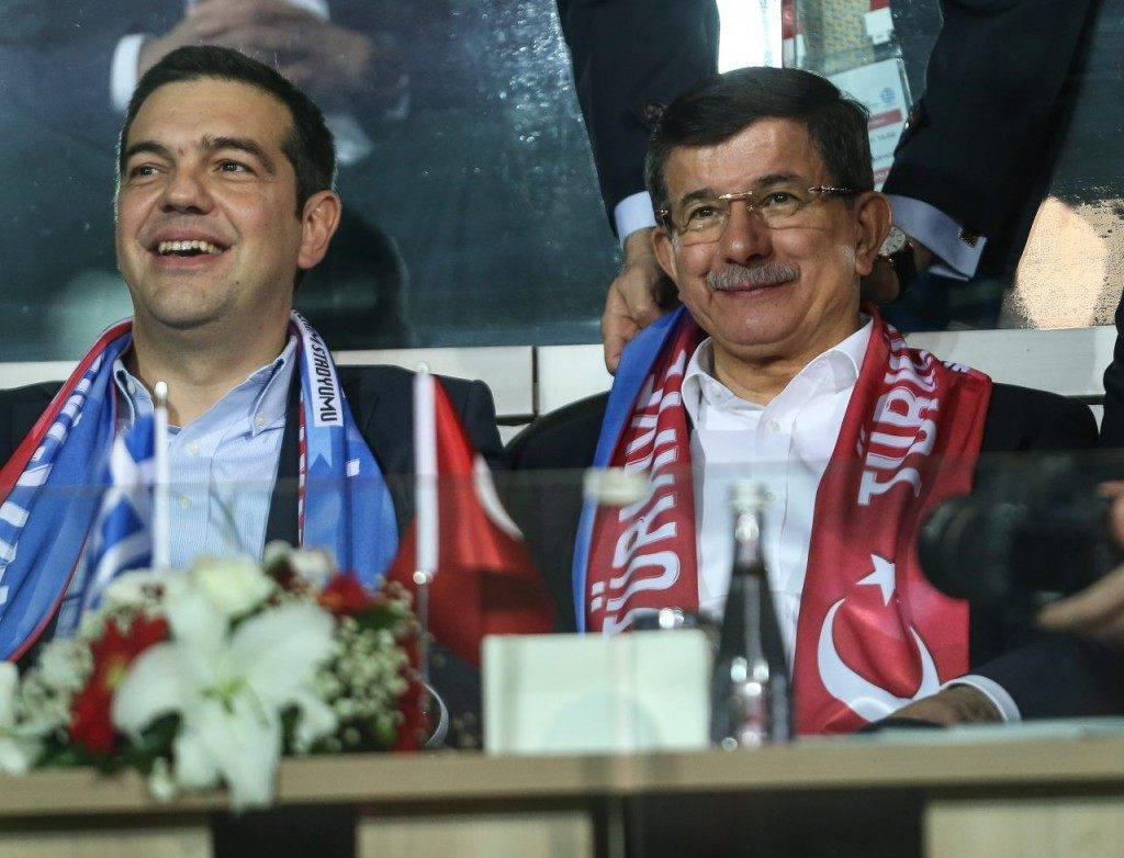 Greek Prime Minister Alexis Tsipras and Turkish Prime Minister Ahmet Davutoglu were in attendance.