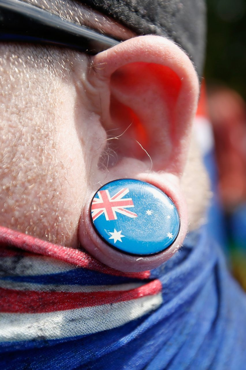 An Australian flag ear ring (Darrian Traynor/Getty Images)