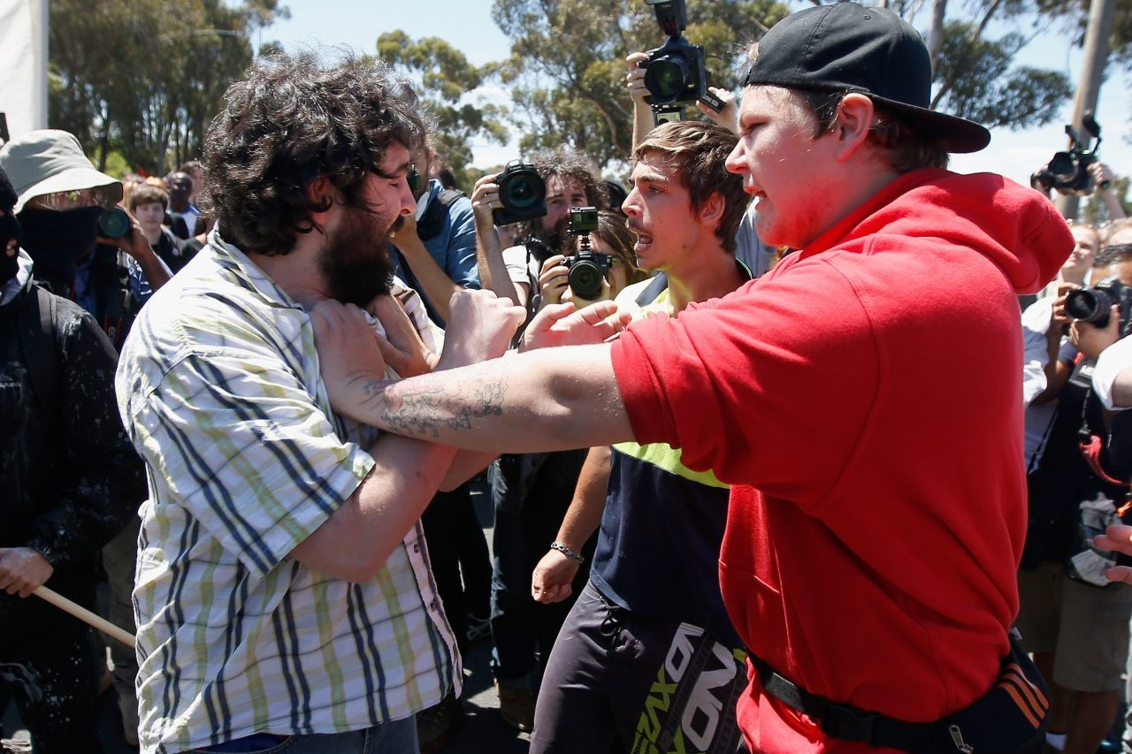 Protesters clash (Darrian Traynor/Getty Images)