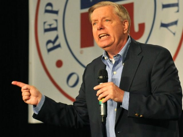 Republican presidential candidate Sen. Lindsey Graham (R-SC) speaks at the Growth and Opportunity Party, at the Iowa State Fair October 31, 2015 in Des Moines, Iowa. With just 93 days before the Iowa caucuses Republican hopefuls are trying to shore up support amongst the party.