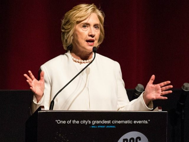 Democratic presidential hopeful Hillary Clinton speaks at the premier of the documentary film 'Makers: Once and For All' at the School of Visual Arts on November 19, 2015 in New York City. The film premeired at the DOC NYC film festival. (Photo by