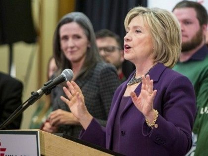 Democratic presidential candidate Hillary Clinton speaks at the Evinronmentalists for Hillary event on November 9, 2015 in Nashua, New Hampshire. Clinton highlighted the importance of reneweable energy and moving away from coal power. (Photo by
