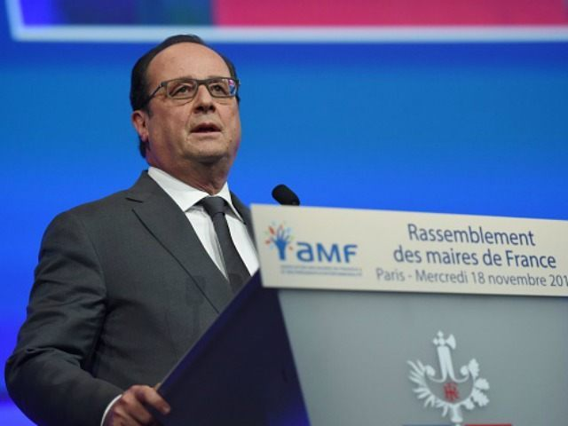 Francois Hollande delivers a speech during a meeting of French mayors in Paris on November 18, 2015. Hollande urged the nation not to 'give in to fear' or excessive reactions in the wake of the jihadist attacks on Paris. AFP PHOTO / POOL / STEPHANE DE SAKUTIN (Photo credit should …