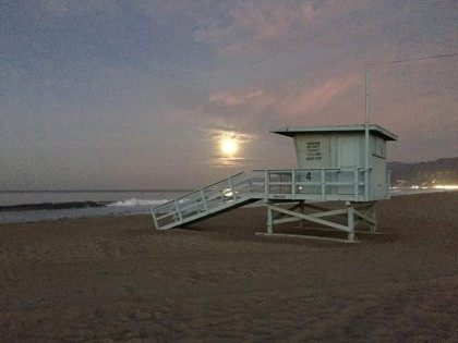 Santa Monica lifeguard tower (Joel Pollak / Breitbart News)