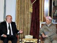 Iraqi Kurdish Regional President Massoud Barzani (R) meets with Turkish Foreign Minister Feridun Sinirlioğlu Reuters