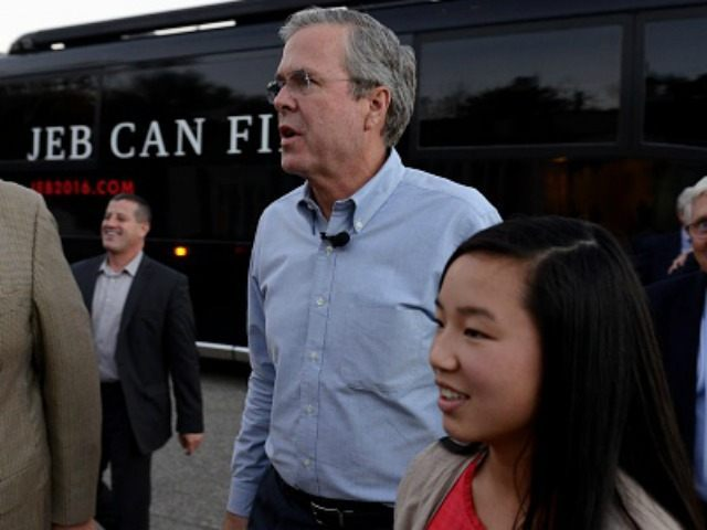 Republican presidential candidate Jeb Bush holds a meet and greet at the Lions Club on November 4, 2015 in Moultonborough, New Hampshire. Bush is trying to re-energize his campaign after a poor debate performance last week. (Photo by