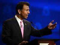 Bobby Jindal gestures during the CNBC undercard Republican Presidential Debate, October 28, 2015 at the Coors Event Center at the University of Colorado in Boulder, Colorado. AFP PHOTO / ROBYN BECK (Photo credit should read