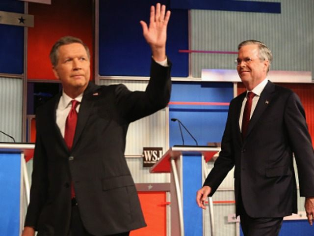 Presidential candidates Ohio Governor John Kasich (L-R) and Jeb Bush take the stage at the Republican Presidential Debate sponsored by Fox Business and the Wall Street Journal at the Milwaukee Theatre November 10, 2015 in Milwaukee, Wisconsin. The fourth Republican debate is held in two parts, one main debate for the top eight candidates, and another for four other candidates lower in the current polls. (Photo by