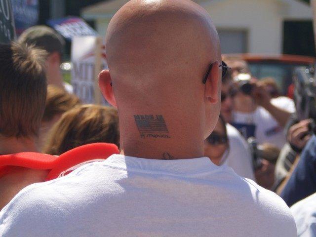 Mitt Romney America tattoo (Marc Nozell / Flickr / CC / Cropped)
