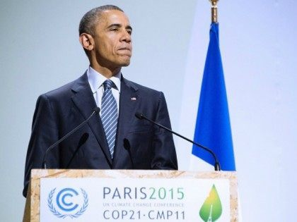 President Barack Obama addresses the opening ceremony of the World Climate Change Conference 2015 (COP21), on November 30, 2015 at Le Bourget, on the outskirts of the French capital Paris. World leaders opened an historic summit in the French capital with 'the hope of all of humanity' laid on their shoulders as they sought a deal to tame calamitous climate change. AFP PHOTO / JIM WATSON / AFP / JIM WATSON (Photo credit should read