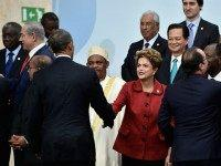 President Barak Obama shakes hands with President of Brasil Dilma Roussef during the family photo session of the Cop 21 on November 30, 2015 in Paris, France. World leaders are meeting in Paris for the start of COP21, the two-week UN climate change summit, attempting to agree on an international …