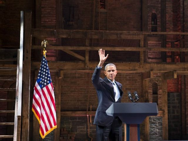 Barack Obama speaks during a Democratic fundraiser following a special performance of the Broadway show, 'Hamilton,' at the Richard Rodgers Theatre in New York, November 2, 2015. AFP PHOTO / SAUL LOEB