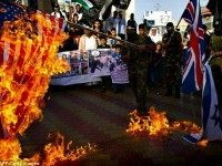 Palestinians burn flags AFP Getty