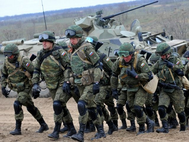 Russian military troops take part in a military drill on Sernovodsky polygon close to the Chechnya border, some 260 km from south Russian city of Stavropol, on March 19, 2015.