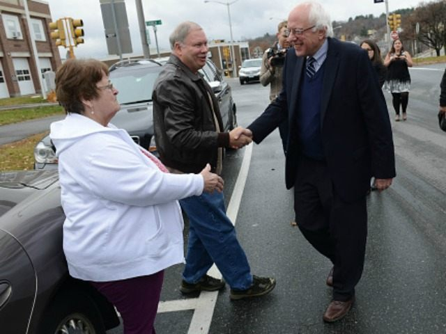 Presidential candidate Bernie Sanders (I-VT) marches in the Veterans Day Parade November 11, 2015 in Lebanon, New Hampshire. Sanders goes into the Democrats second debate this weekend still running strong in the polls.(Photo by )